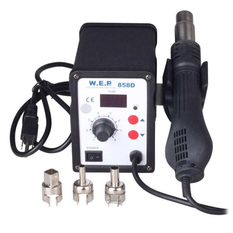 110V Digital Electronic Hot Air Heat Gun 858D SMD Rework Solder Station+3 Nozzle