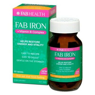 - FAB HEALTH FAB IRON + VITAMIN B COMPLEX 60 TABLETS RESTORE ENERGY AND VITALITY