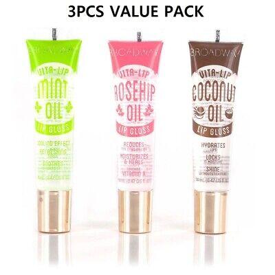 Broadway Vita-Lip Clear Lip Gloss (3PCS - Mint & Coconut & Rosehip Oil)