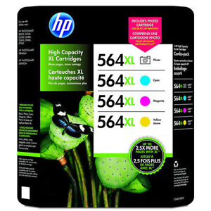 4 Pack Color Set Genuine HP 564XL Photo Black Cyan Magenta Yellow Ink Cartridges