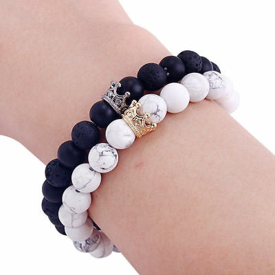 Bracelets With Beads (Luxury Distance Couple Bracelets with CZ Crown Her King His Queen Bracelets)