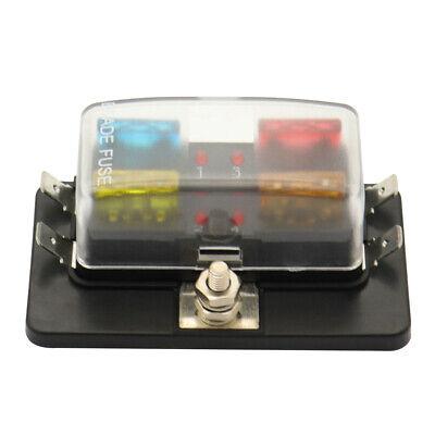 4 Way Blade Fuse Box with LED Indicator Fuse Block for Car Boat Marine F1U3