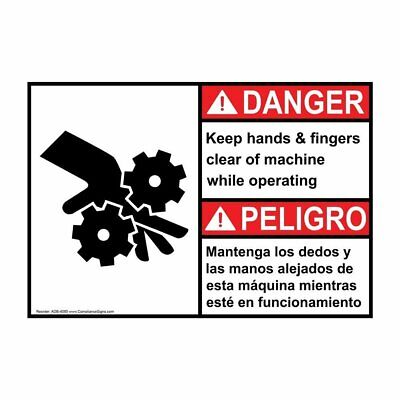 ComplianceSigns Plastic ANSI DANGER Keep Hands Fingers Clear Operating...