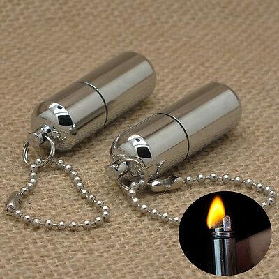 1Pc Gear Fire Stash Waterproof Survival Lighter Keyring Camping Pocket Key Chain
