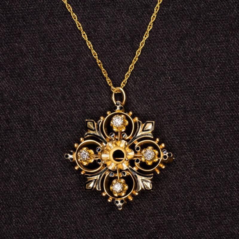 VINTAGE DIAMOND SEMI MOUNT PENDANT BLACK ENAMEL NECKLACE SETTING ANTIQUE GOLD