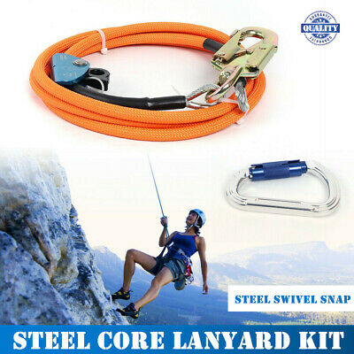 Climb 12 X 10 Steel Core Lanyard Kit Flipline Swivel Snap Orange Usa