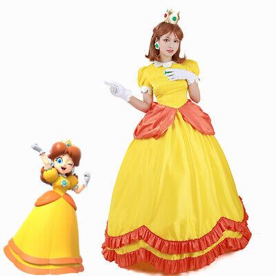 Princess Daisy Cosplay Costume Fancy Dress Super Mario Women Lady Girl](Superwomen Costume)