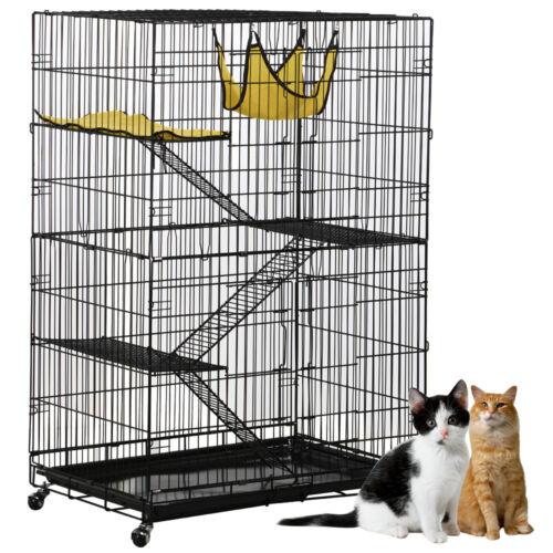 Large 2 Door Cat Cage Pet Playpen Folding Cat Wire Crate W