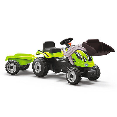 Smoby Farmer XL Tractor and Trailer in Green, Kids Ride On Pedal Toy Car
