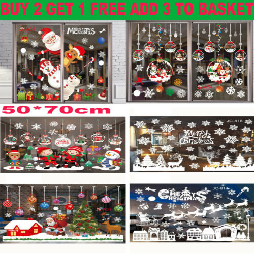 Home Decoration - Christmas Window Stickers Xmas Santa UK Removable Art Decal Wall Home Shop Decor