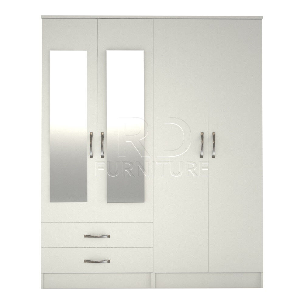 Beatrice 4 door 2 drawer mirrored wardrobe white effect