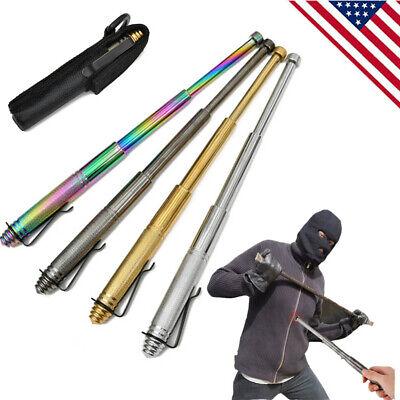 Multifunctional Telescopic Satinless Steel Defense Sticks Whip Retractable US