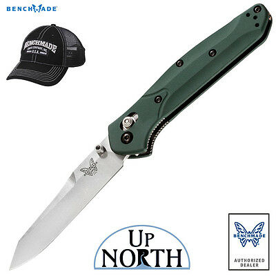 NEW!! Benchmade 940 Osborne Green Aluminum Handle Knife S30V Plain Edge Blade
