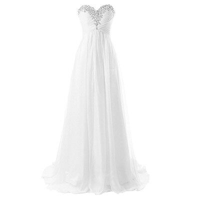 Long Chiffon A Line Sweetheart Beading Beach Wedding Dresses Lace-up Back 2017