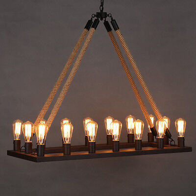 (Rustic Rope Chandelier 16 Light Wrought Iron Island Fixture Ceiling Pendant Lamp)