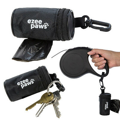 Ezee Paws Dog Poo Waste Bag Holder Dispenser With Lead Attachment and Key Clip