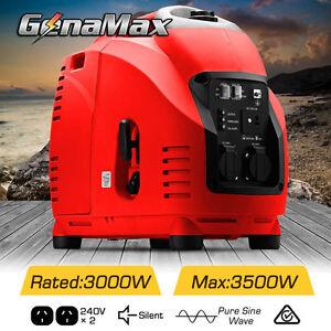 GenaMax Max 3.5kVA KW Rated 3 Inverter Generator Silent Portable Petrol Camping