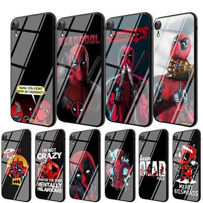 Deadpool Anime TPU Glass Case for iPhone 8 7 6 6S Plus 5 X XS Max XR Cover
