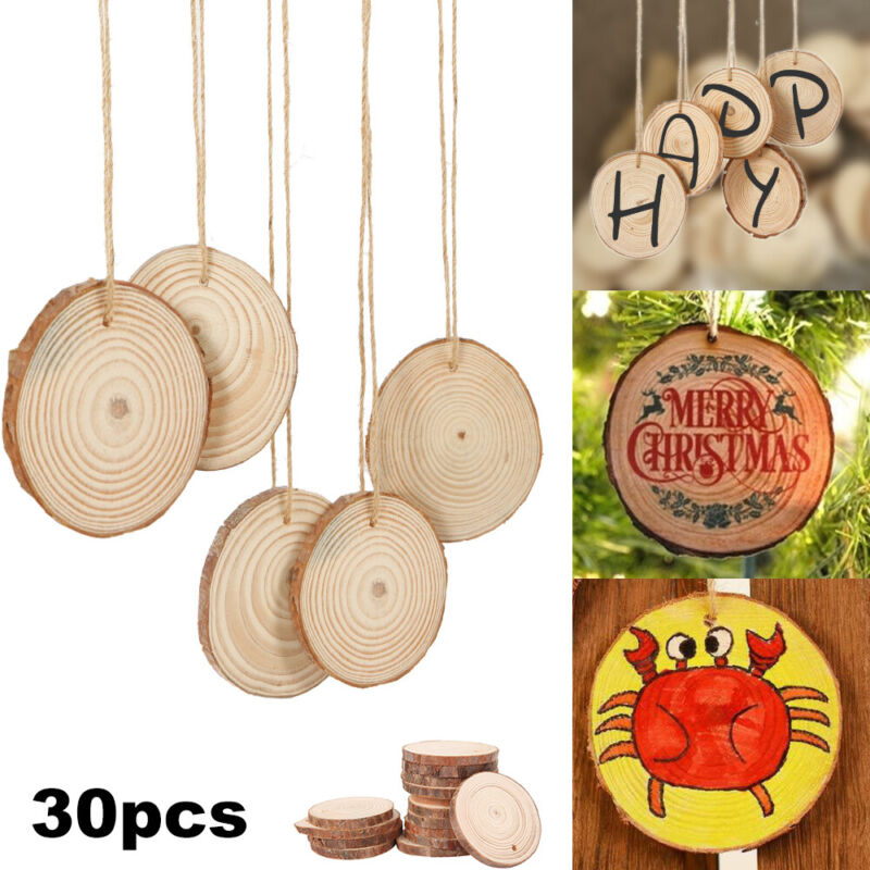 30pcs DIY Wood Slices Round For Christmas Tree Decorations O