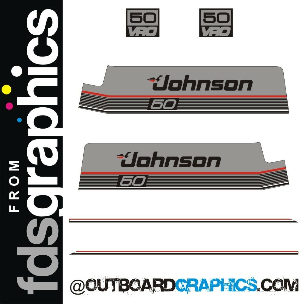 Johnson 50hp VRO outboard engine decals/sticker kit