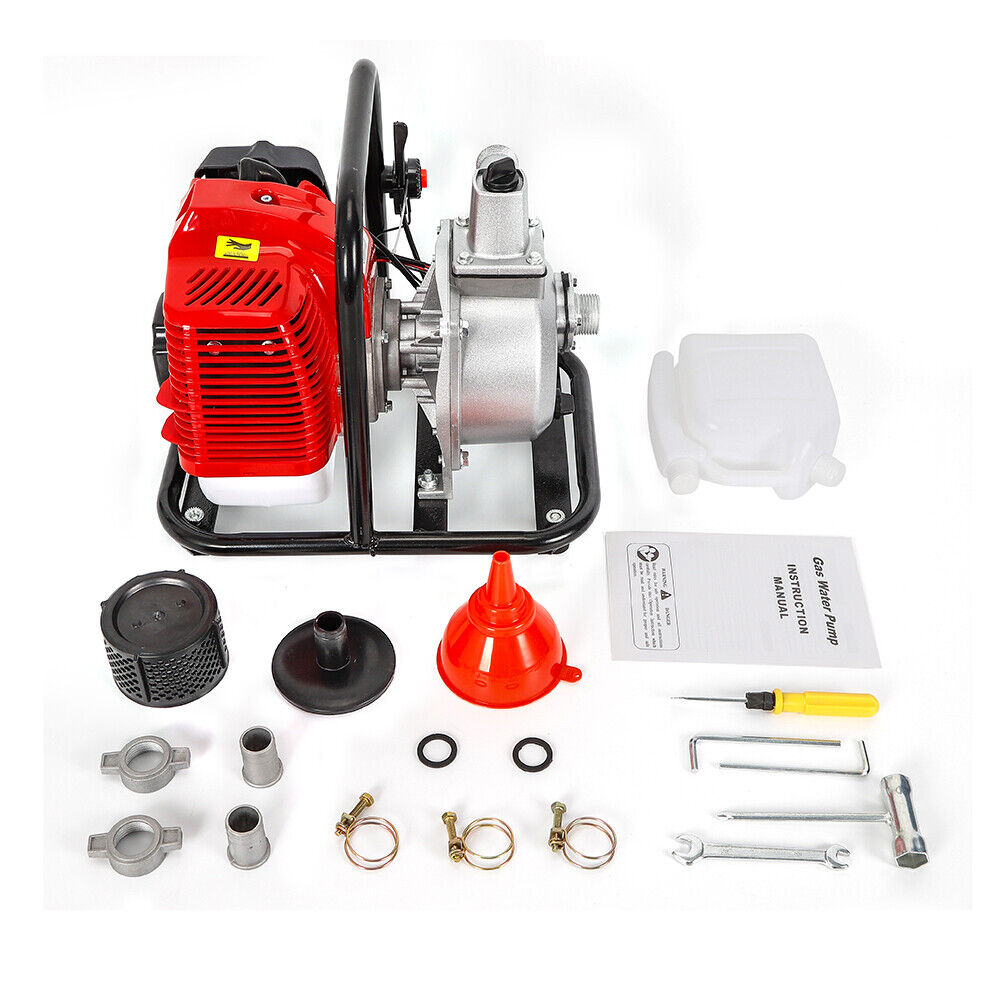 2-Takt Benzin Wasserpumpe Motorpumpe 8000L//h 43cc 1.7hp Motor 1.25kw 6500rpm