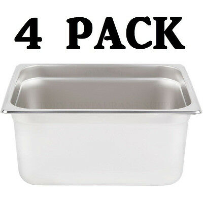 4 Pack Half Size Stainless Steel 6 Deep Steam Table Food Pan Buffet Hotel 12