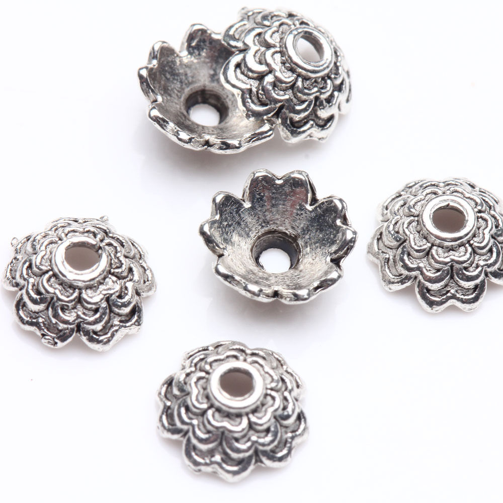 100x Wholsale Tibetan Style Antique Silver Flower Bead Caps Jewellery Craft 10mm