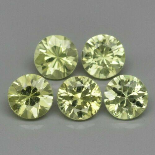 1.04 ct t.w 5pcs Lot 3.5mm Round Brilliant Natural Yellowish Green Chrysoberyl