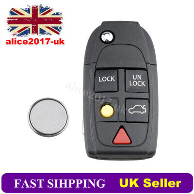 For Volvo S60 S80 V70 XC70 XC90 5 Button Remote Key Fob Case Battery Repair Kit