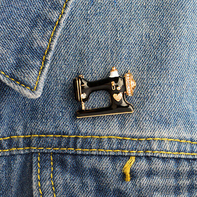 Fashion Sewing Machine Rhinestone Brooch Pin Women Creative Jewelry New