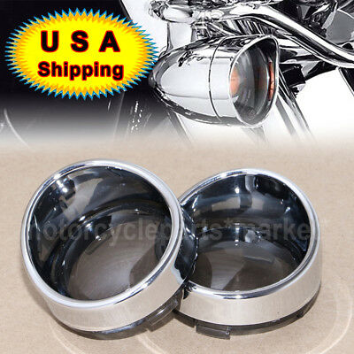 Smoked Turn Signal Lens Chrome Trim Ring Bezels Visor x2 For Harley Parts USA