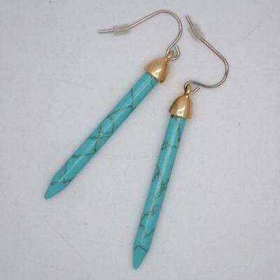 Lucky Stick Earring (Lucky brand women jewelry matte gold turquoise stick drop hoop dangle)