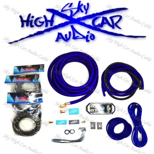 Sky High Car Audio Blue 1/0 AWG OFC to Dual 4 Gauge OFC Complete Amp Kit Split