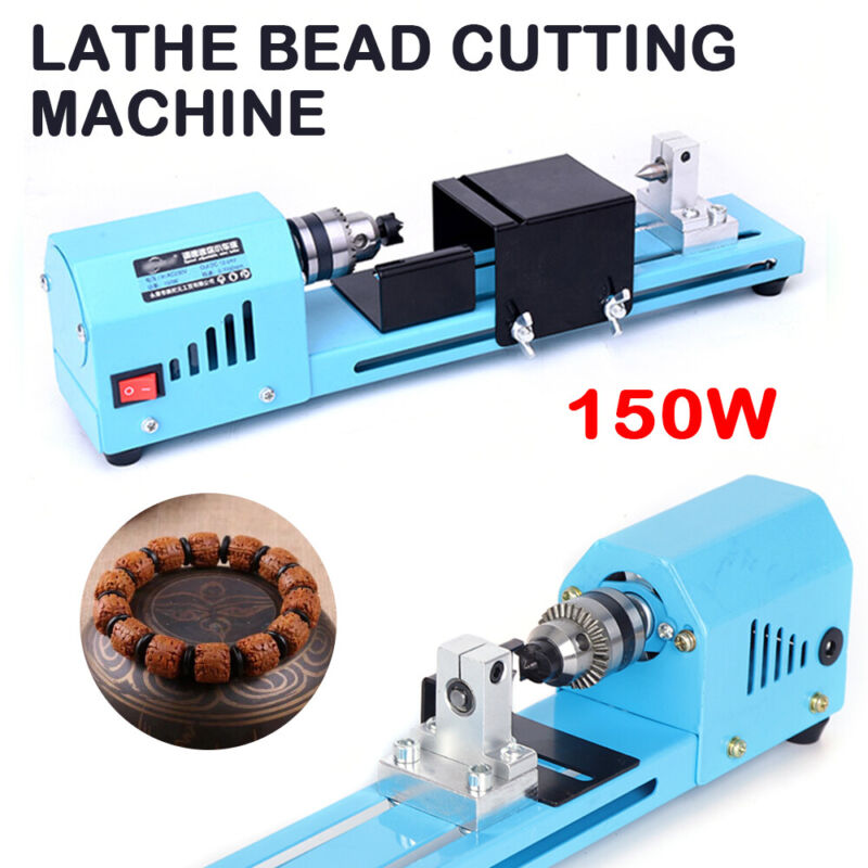 150W Mini Wood Lathe Bead Cutting 110V Machine Drill Polisher Woodworking Kit
