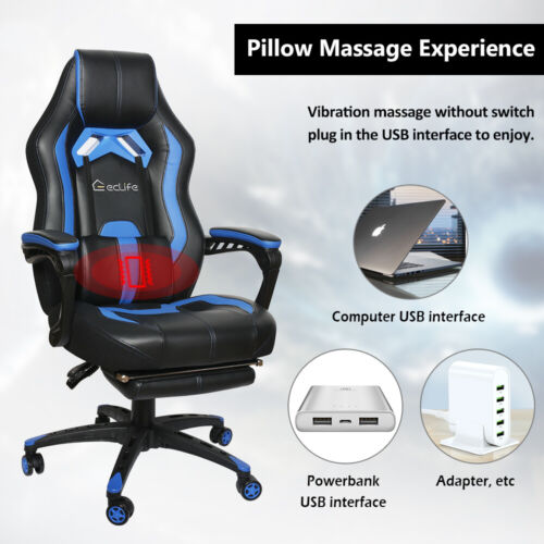 Office Gaming Chair Racing PU Massage Executive Computer Desk Seat Swivel Blue