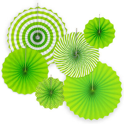 6pk Hanging Paper Fans Rosettes Event Party Wedding Decorations Pom Pom Green