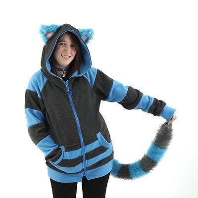 PAWSTAR Cheshire Cat Kitty Hoodie & Tail - Jacket Blue Gray Costume [ALT]4535 - Cheshire Cat Blue Costume