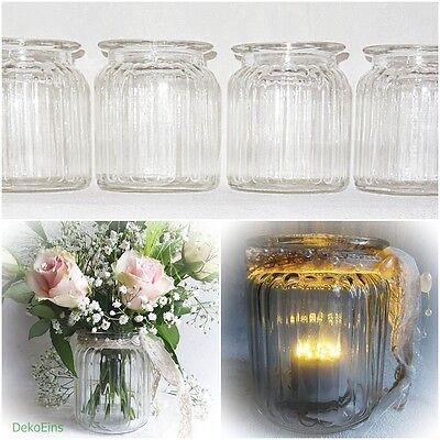 12 x Windlicht H 9 cm Teelicht halter Kerzen glas Gläser Tisch Deko Vasen