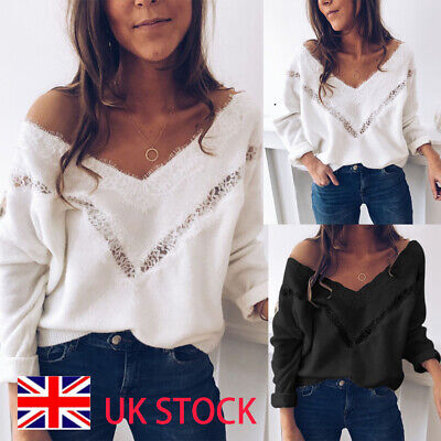 Womens Lace Oversized V Neck Knitted Sweater Ladies Loose Casual Jumper Tops UK