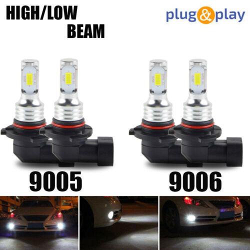 4x Combo 9005+9006 Mini LED Headlight Bulbs Conversion Kit High Low Beam 6000K