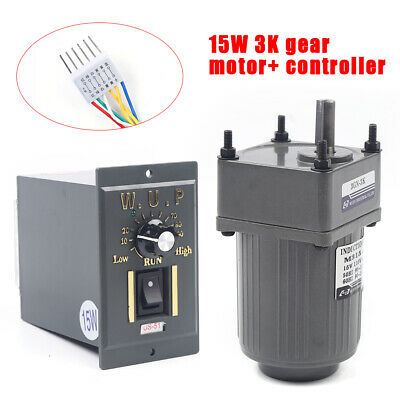 New 110v 15w 3k Ac Gear Motor Electric Motor Variable Speed Controller 0-450rpm