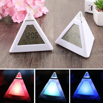 1PC LED Changing Color Pyramid Triangle Digital LCD Alarm Desk Clock Thermometer