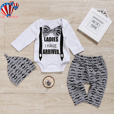 3PCS Newborn Baby Boy Cotton Clothes Tops Romper Jumpsuit Pants Leggings Hat Set