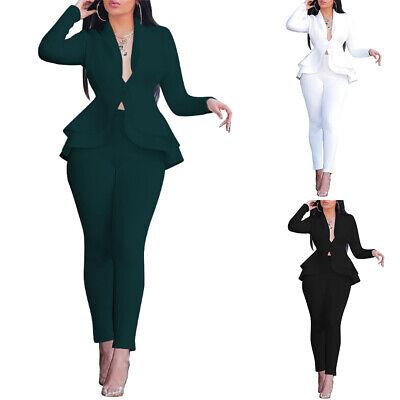 2Pcs Women OL Office Workwear Suit Ladies Ruffle Tunic Slim Blazer Pants Outfits