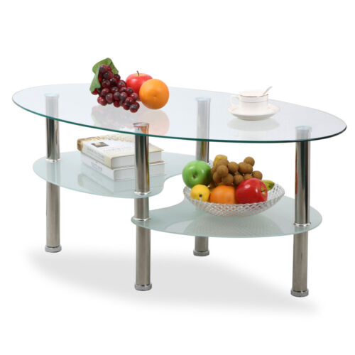 modern design glass coffee table oval shape side end table