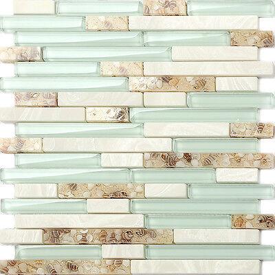 Spyglass Beach Style Shell Tile Sea Green Interlocking Kitchen Backsplash Mosaic