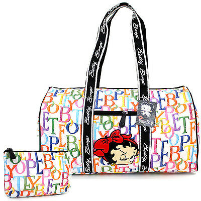 """Betty Boop Quilted Duffle Travel Bag Diaper Gym Bag -Rainbow Typo White 21"""" XL"""