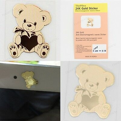 TPD 24K Gold Plated Anti Radiation Block Shield Cell Phone Sticker Lovely Bear