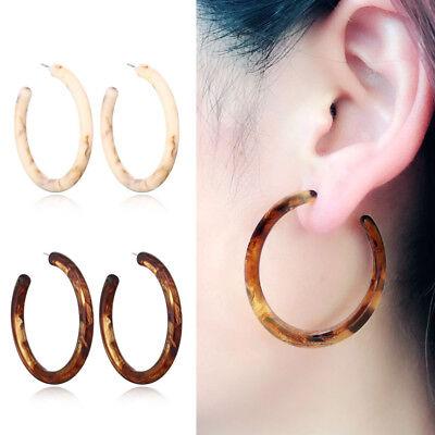 Fashion Women Earrings Tortoise Shell Earrings Resin Hoop Earrings Acrylic (Tortoise Shell Modeschmuck)