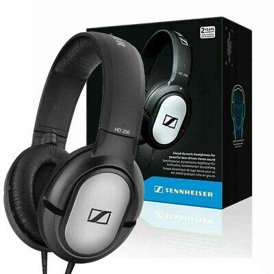 Sennheiser HD 206 Stereo WIRED Headphones Earphones Over Ear Black Silver Hot